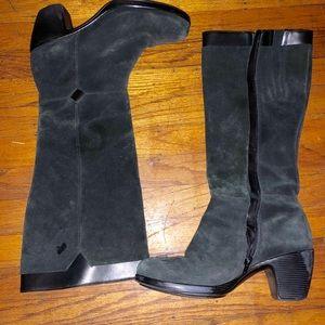 Black suede knee high  chunky heel boots